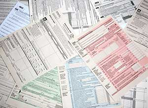 Miscellaneous tax forms in pile